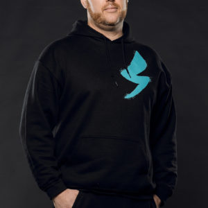 Speed Mechanics athletic zipup and pullover hoody with distressed teal lightning bolt