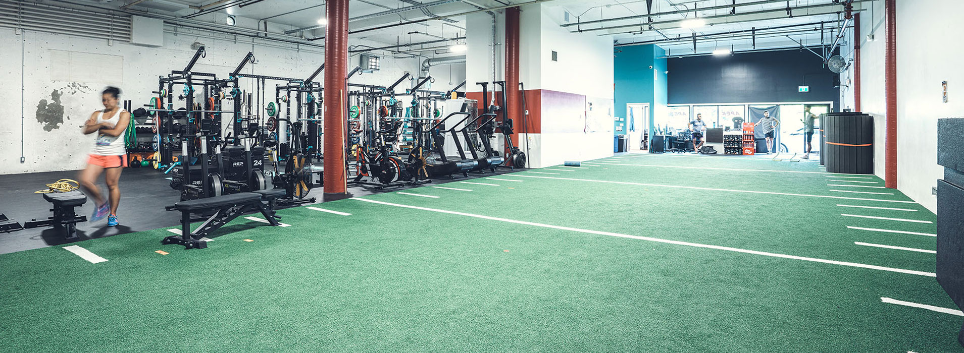 Speed Mechanics Facility Turf area for sprinting and sports training